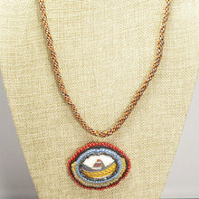 Load image into Gallery viewer, Ediltrudis Bead Embroidery Pendant Kumihimo Necklace front close view