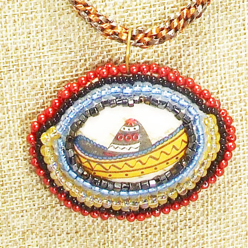 Ediltrudis Bead Embroidery Pendant Kumihimo Necklace front blow up view