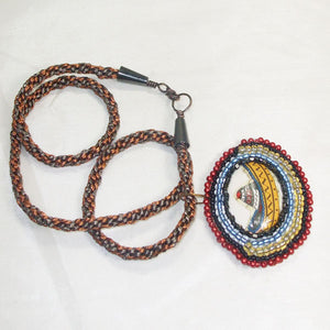 Ediltrudis Bead Embroidery Pendant Kumihimo Necklace flat view