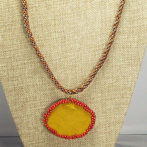 Ediltrudis Bead Embroidery Pendant Kumihimo Necklace back relevant view