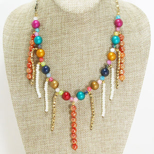 Xandria Multi Colored Beaded Necklace close up view
