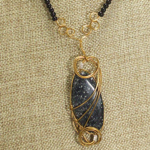 Tafne Gemstone Beaded Pendant Necklace front close view