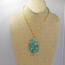 Load image into Gallery viewer, Zafina Rhyolite Wire Wrap Cabochon Pendant Necklace front relevant view