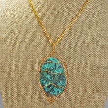 Load image into Gallery viewer, Zafina Rhyolite Wire Wrap Cabochon Pendant Necklace front close view