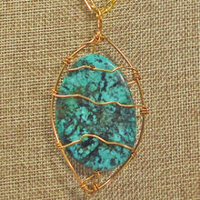 Load image into Gallery viewer, Zafina Rhyolite Wire Wrap Cabochon Pendant Necklace front blow up view
