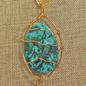 Zafina Rhyolite Wire Wrap Cabochon Pendant Necklace front blow up view