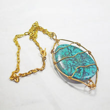 Load image into Gallery viewer, Zafina Rhyolite Wire Wrap Cabochon Pendant Necklace flat view