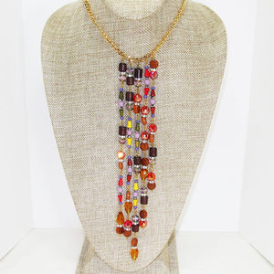 Warda Multi Colored Beaded Dangle Necklace relevant front view