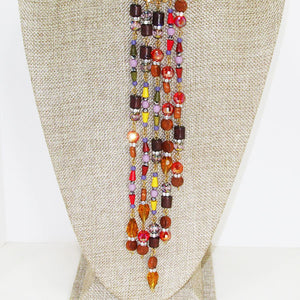 Warda Multi Colored Beaded Dangle Necklace close up view