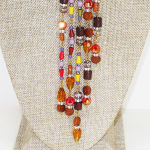 Warda Multi Colored Beaded Dangle Necklace blow up view