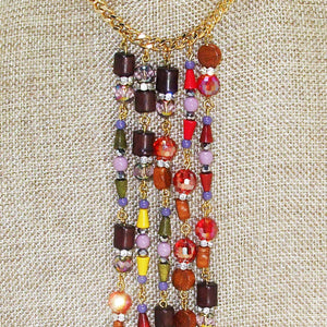 Warda Multi Colored Beaded Dangle Necklace pin up view