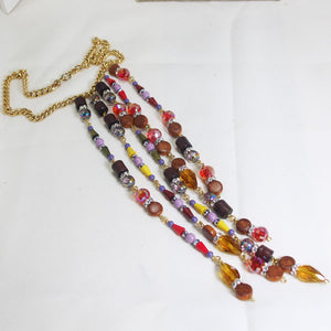 Warda Multi Colored Beaded Dangle Necklace flat view
