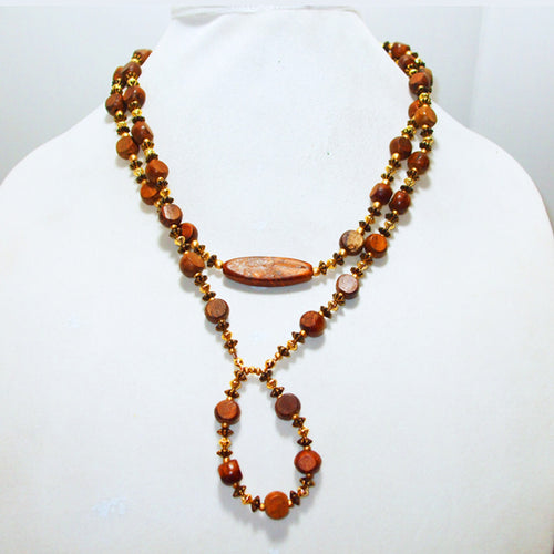 Gamela Wood Beaded Jewelry Necklace relevant front view