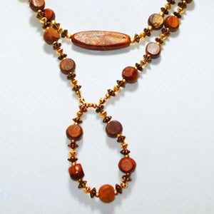Gamela Wood Beaded Jewelry Necklace close up view
