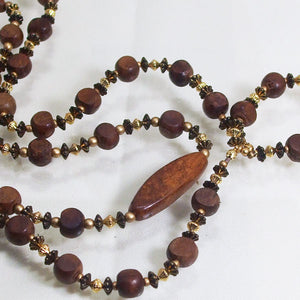 Gamela Wood Beaded Jewelry Necklace flat close up view