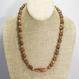 Ulani Teak Wood Beaded Necklace relevant view