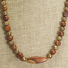 Load image into Gallery viewer, Ulani Teak Wood Beaded Necklace close view