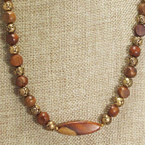 Ulani Teak Wood Beaded Necklace close view