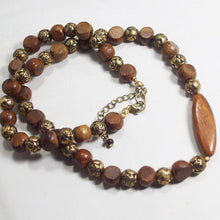 Load image into Gallery viewer, Ulani Teak Wood Beaded Necklace flat view