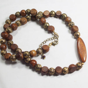 Ulani Teak Wood Beaded Necklace flat view
