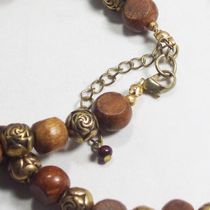 Ulani Teak Wood Beaded Necklace clasp view