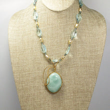 Load image into Gallery viewer, Larissa Aventurine Cabochon Pendant Necklace front relevant view