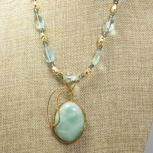 Larissa Aventurine Cabochon Pendant Necklace front close view