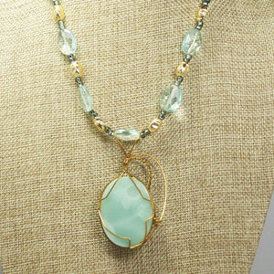 Larissa Aventurine Cabochon Pendant Necklace back close view
