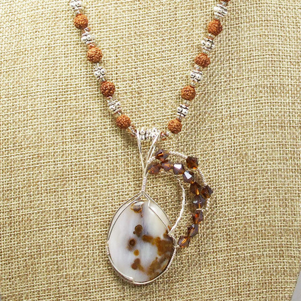 Machiko Polka Dot Agate Cabochon Pendant Necklace front close view