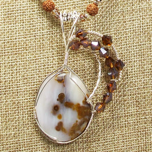 Machiko Polka Dot Agate Cabochon Pendant Necklace blow up view