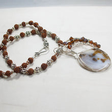 Load image into Gallery viewer, Machiko Polka Dot Agate Cabochon Pendant Necklace flat view