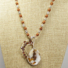 Load image into Gallery viewer, Machiko Polka Dot Agate Cabochon Pendant Necklace back close view