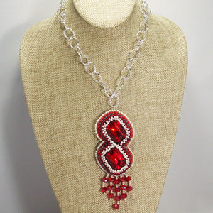 Pancracia Bead Embroidery Pendant Necklace relevant front view