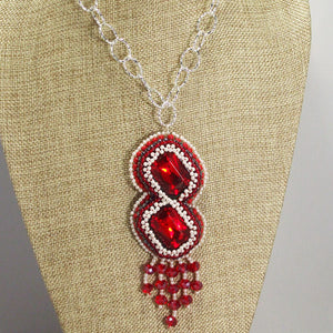 Pancracia Bead Embroidery Pendant Necklace close up front view