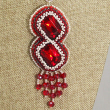 Load image into Gallery viewer, Pancracia Bead Embroidery Pendant Necklace blow up front view