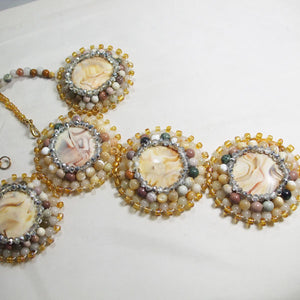 Queralt Jasper Bead Embroidery Pendant Necklace flat view