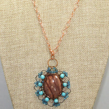 Load image into Gallery viewer, Bakana Rhyolite Cabochon Pendant Necklace front close view