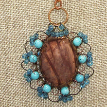 Load image into Gallery viewer, Bakana Rhyolite Cabochon Pendant Necklace front bugs eye view