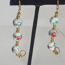 Load image into Gallery viewer, Kacia Christmas Bead Earrings close up view.