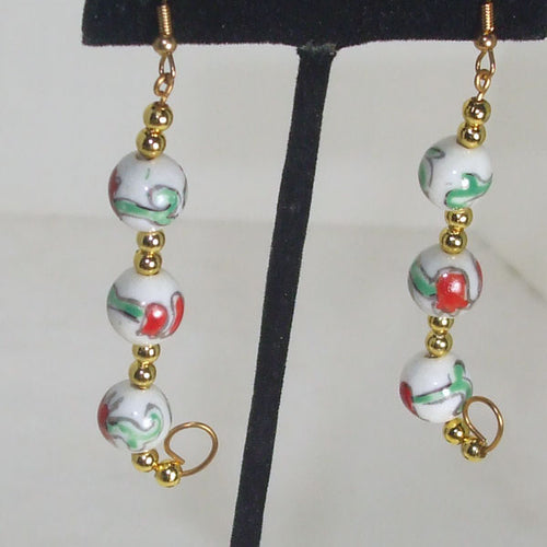 Kacia Christmas Bead Earrings close up view.