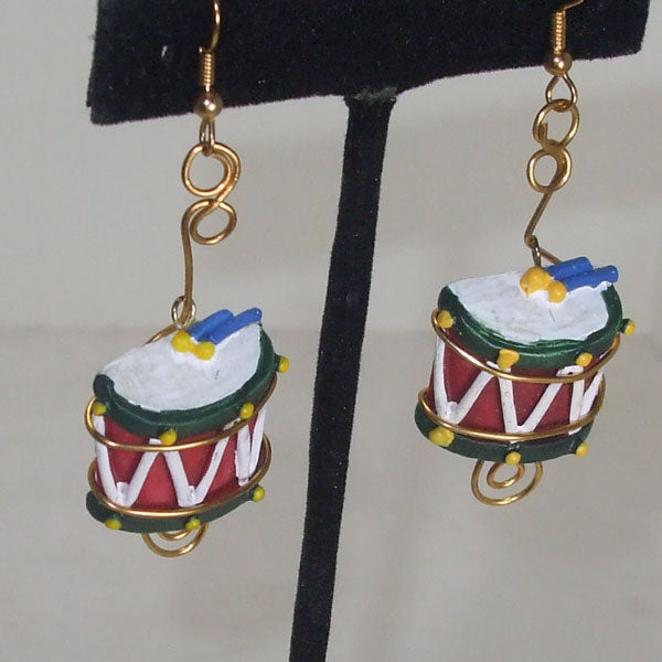 Mabellee Christmas Drummer Earrings close up view