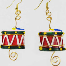 Load image into Gallery viewer, Mabellee Christmas Drummer Earrings flat view