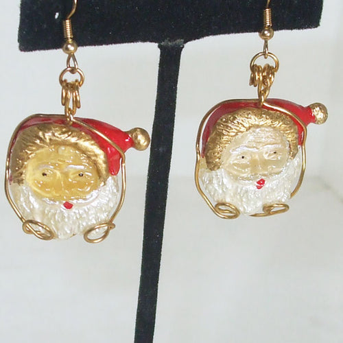 Ocilia Christmas Santa Resin Earrings close up view
