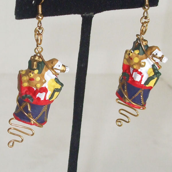 Pabla Christmas Stocking Earrings close up view