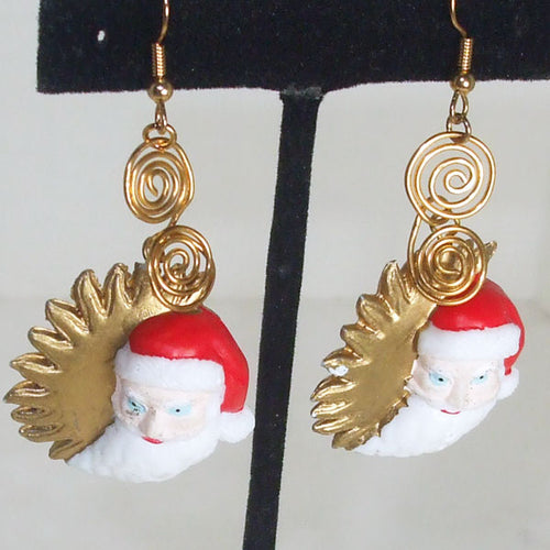 Qiana Christmas Santa Earrings close up view