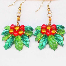 Load image into Gallery viewer, Rabeca Christmas Holly Earrings close up view