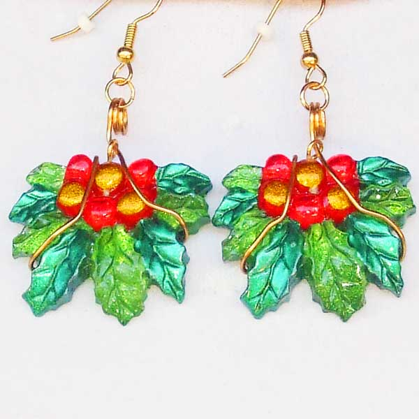 Rabeca Christmas Holly Earrings close up view