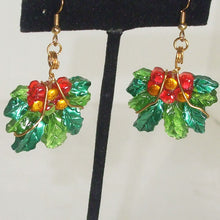 Load image into Gallery viewer, Rabeca Christmas Holly Earrings blow up view