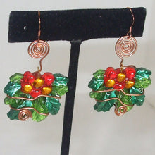 Load image into Gallery viewer, Sabana Christmas Holly Leaves Earrings close up view