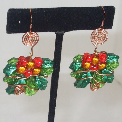 Sabana Christmas Holly Leaves Earrings close up view